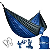 Foxelli #1 Camping Hammock – Ultralight Nylon Portable Parachute, Best for Light Backpacking Survival Beach Travel & Backyard Fun – Tree Ropes and Carabiners Included, 2 - Person