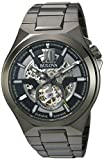 Bulova Sport Style In Gunmetal Case, Open Aperture Black Dial Watch With Silvertone Accents