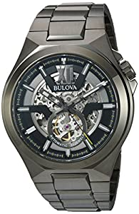 Bulova Men's Automatic Stainless Steel Casual Watch, Color:Grey (Model: 98A179)