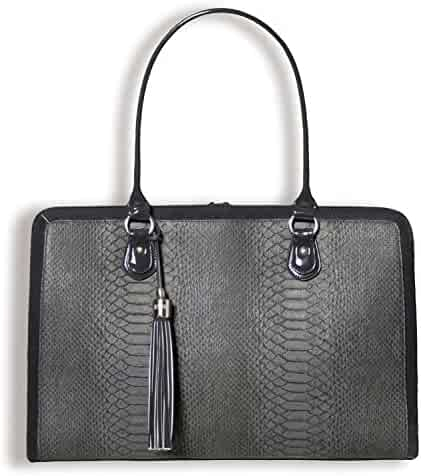 BfB Briefcase Computer Bag - Handmade 17 Inch Laptop Bag for Women - Charcoal Grey