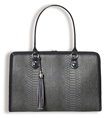 BfB Briefcase Computer Bag - Handmade 17 Inch Laptop Bag for Women - Charcoal - Sunglass Totes World