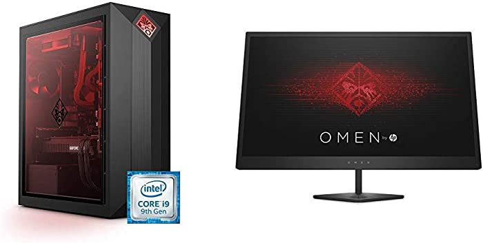 OMEN by HP Obelisk Gaming Desktop Computer, 9th Gen Intel Core i9-9900K Processor, NVIDIA GeForce RTX 2080 8 GB, HyperX 32 GB RAM, 1 TB SSD (875-1023, Black) & 25-Inch FHD Gaming Monitor (Black)