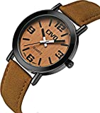 CIVO Men's Women's Genuine Wood Face Wrist Watch Waterproof Brown Leather Band Business Casual Watches