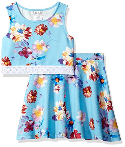Blush by Us Angels Girls' Big 2pc Pique Print & Lace Bodice with Flare Skirt, Sky, -
