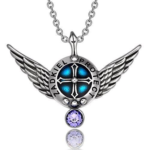 Archangel Zadkiel Angel Wings Protection Shield Magic Power Charm Purple Crystal Pendant 22 inch Necklace by BestAmulets