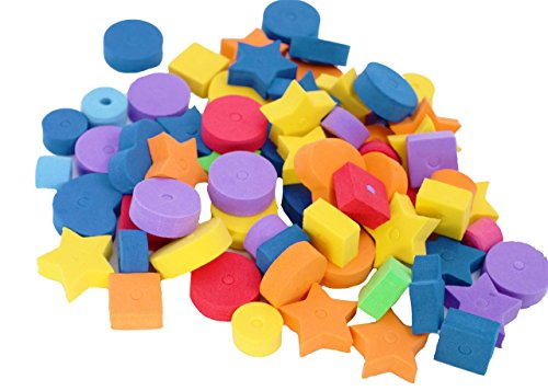 Bonka Bird Toys 1194 60 pc Colored Fun Shapes Foam Beads Assorted Colors & Shapes Parts Craft Charms (Bird Toy Making Supplies)