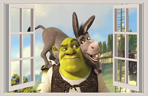Shrek Fiona Window Wall View decal. Donkey Dream, Works, Pixar Movie, 18