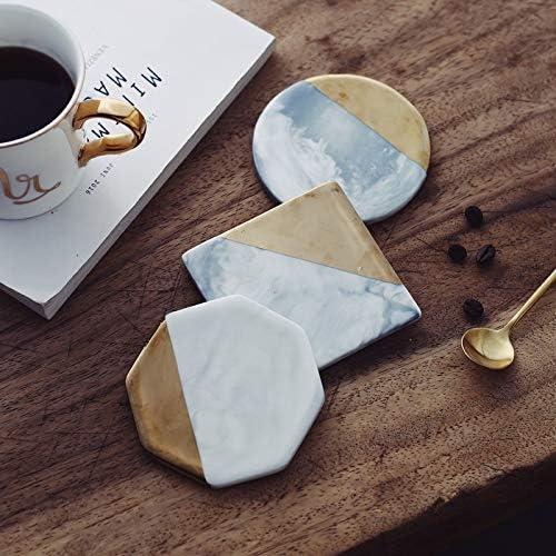 Non-slip Marble Grain Gold Plating Ceramic Coaster Cup Mats Pads Kitchen/_L