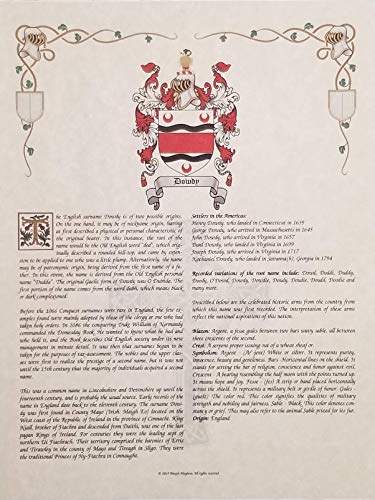 Duchman Coat of Arms, Family Crest & History 8 5x11 Print - Name Meaning  Plus Genealogy, Family Tree Research - Surname Origin: England/English