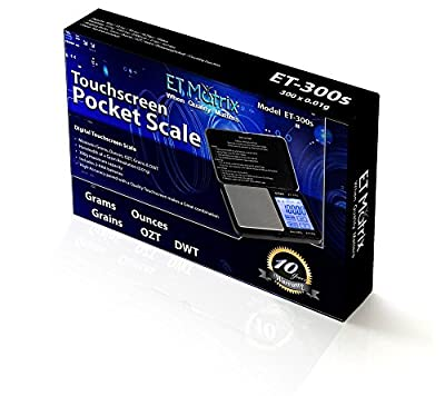 Pocket Scale - Digital Touch Screen - ET 300s - Kitchen, Food, Reloading, Portable, Coin, Gold, Silver, Herb, Precision Accuracy. Built Tough.