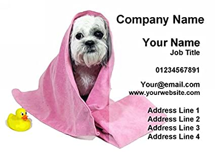 Dog In Bath Dog Grooming Personalised Business Cards