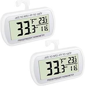 Waterproof Refrigerator Fridge Thermometer, Digital Freezer Room Thermometer, Max/Min Record Function Large LCD Screen and Magnetic back for Kitchen, Home, Restaurants (2 pack)