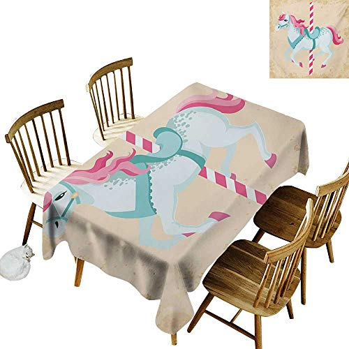 - Printed Rectangular Tablecloth W54 x L90 Horse Vintage Carousel Horse Childhood Circus Joyful Amusement Park Girls Nursery Print Multicolor Ideal for Buffet Tables Parties Gala Dinners Weddings etc.