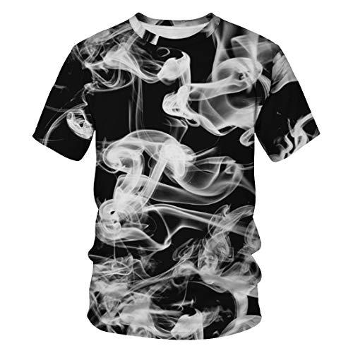 (Auremore Unisex 3D Print T-Shirt Graphic Tee Crewneck Short Sleeve T-Shirts for Men Women Tunic Tops Smoke M)