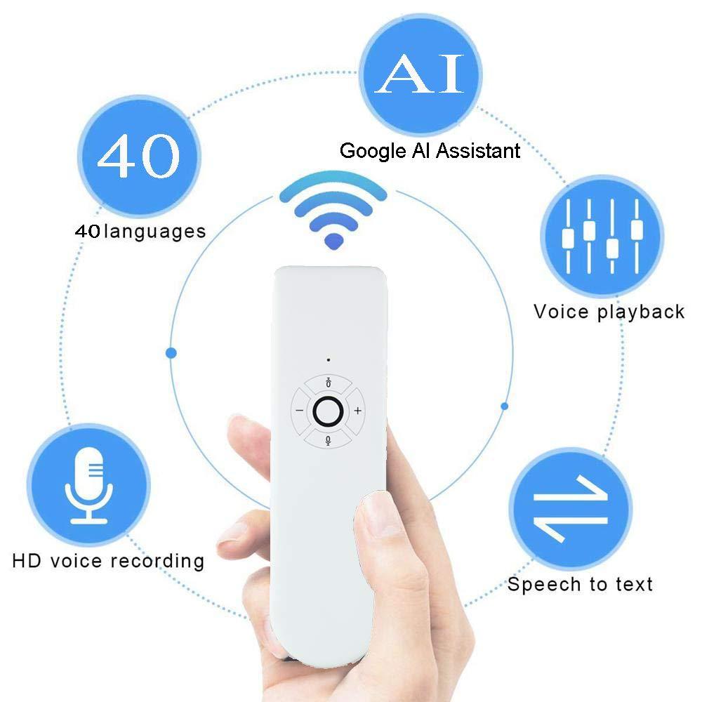 Voice Language Translator Device, Two Way Portable Intelligent Smart Translator Instant Pocket Foreign Language Translator with AI Assistant Support 40 Languages for Learning Shopping Travel Business
