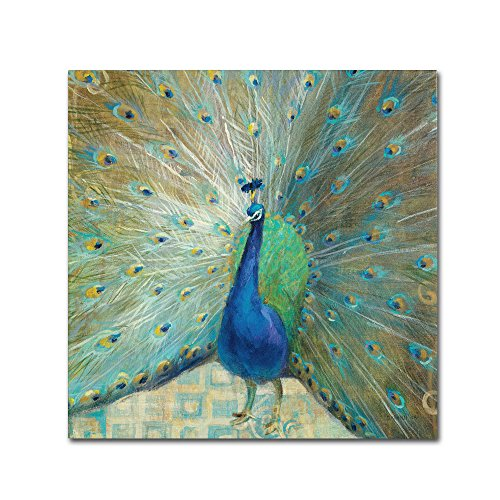 Blue Peacock on Gold Ornate Frame by Danhui Nai Wall Decor, 14 by 14-Inch Canvas Wall Art ()