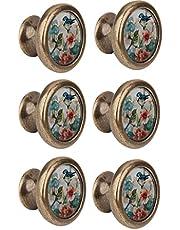 6Packs Deurknoppen Vogel Bloem Patroon Keuken Kast Knoppen Lade Trekt Kast Knoppen Decoratieve Handwerk Knoppen en Trekt
