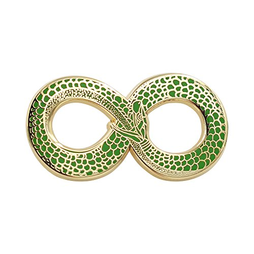Real Sic Snake Enamel Pin Occult Ouroboros Lapel Pin Green and Gold Snake Pin - Occult Halloween Pin for Backpacks, Jackets, Hats & Tops (Snake Brooch)