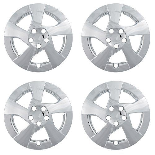 Hub-Caps for Select Toyota Prius (Pack of 4) 15 Inch Chrome Wheel Covers