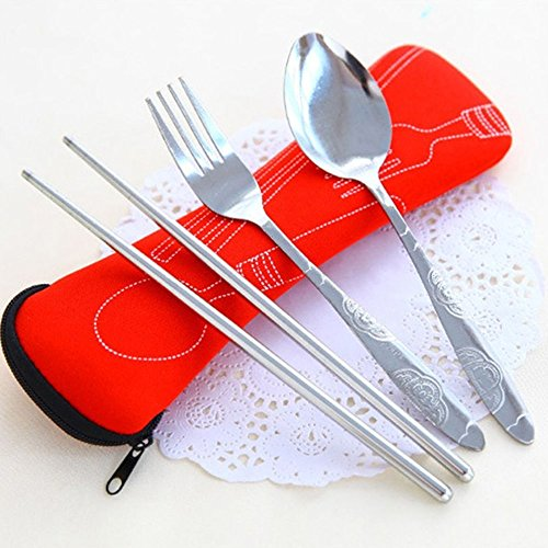 Bluelans® 3 Piece Stainless Steel (Chopsticks, Fork, Spoon) Portable Travel / Camping Cutlery Set with Neoprene Case (Blue) by Bluelans (Image #2)