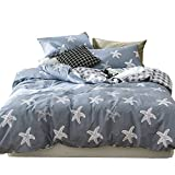 ORUSA Star Kids Bedding Sets Full Size Queen Duvet Cover Set for Boys Girls White Blue Reversible Grid Bedding Sets for Children, Style 4