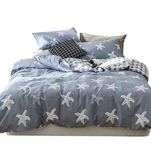 ORUSA Star Kids Bedding Sets Full Size Queen Duvet Cover Set for Boys Girls White Blue Reversible Grid Bedding Sets for Children, Style 4 -