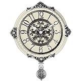 Cheap HENSE Retro Silent Quartz Wall Clock with Decorative Pendulum + Crack Line Border, Best gift for Wedding New House Decorations HP13