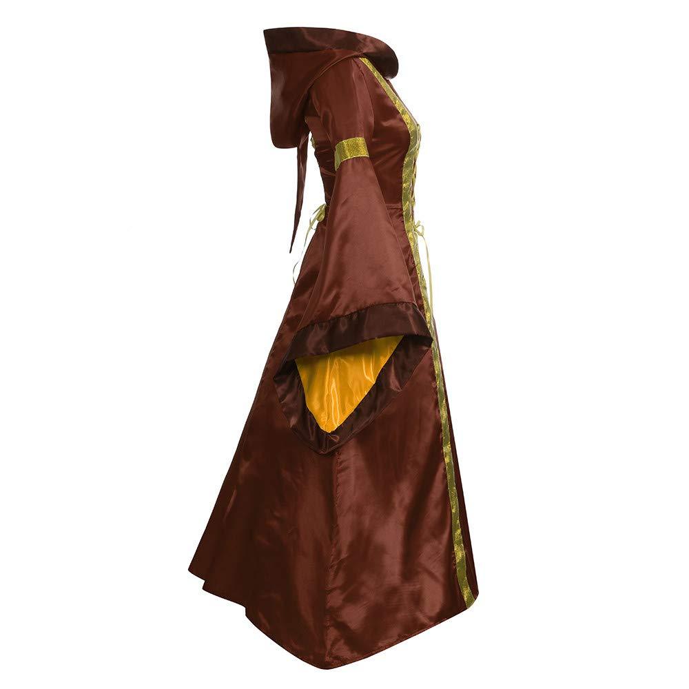 Millenniums M/édi/éval D/éguisement Adulte Maxi Robe /À Capuche Manches /évas/ées Bandage Cosplay Vampire Sorci/ère Costume pour Halloween Toussaint Carnaval Drame