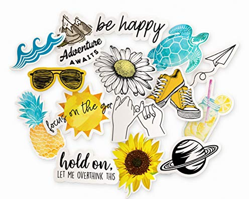 Cool & Trendy Aesthetic Laptop Sticker Pack   15-Pack Yellow Summer Stickers for Water Bottles   Beach Themed Ocean Hydro Flask Decal Stickers   Floral Daisy/Sunflower Stickers for Girls Laptop