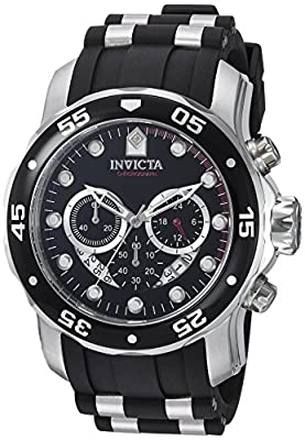 Invicta Men's 6977 Pro Diver Collection Chronograph Black Dial Black Polyurethane Watch by Invicta