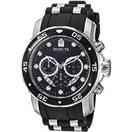 Men's 'Pro Diver' Swiss Quartz Stainless Steel and Polyurethane Diving Watch, Color:Black (Model:...