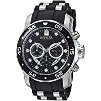 Invicta Men's 'Pro Diver' Swiss Quartz Stainless Steel and Polyurethane Diving Watch, Color:Black (Model: 6977)