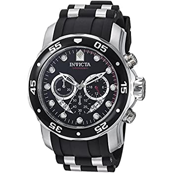 Invicta Mens 6977 Pro Diver Collection Chronograph Black Dial Black Polyurethane Watch