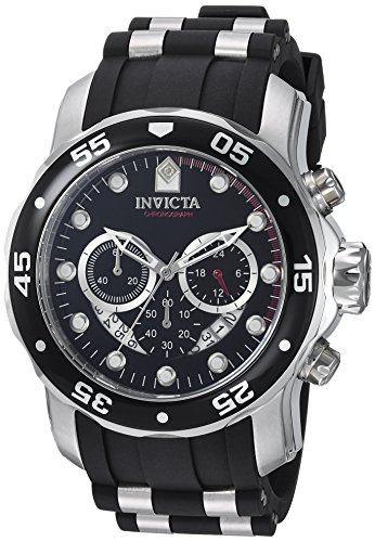 Invicta Men's 6977 Pro Diver Collection Chronograph Black Dial Black Polyurethane (Silver Dial Polyurethane)