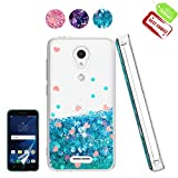 Atump Alcatel IdealXcite/Verso/CameoX/Xcite Version 5044r Case with HD Screen Protector for Girl Woman, Cute Glitter Series Quicksand Liquid Bling Soft Case for Alcatel 5044R Blue