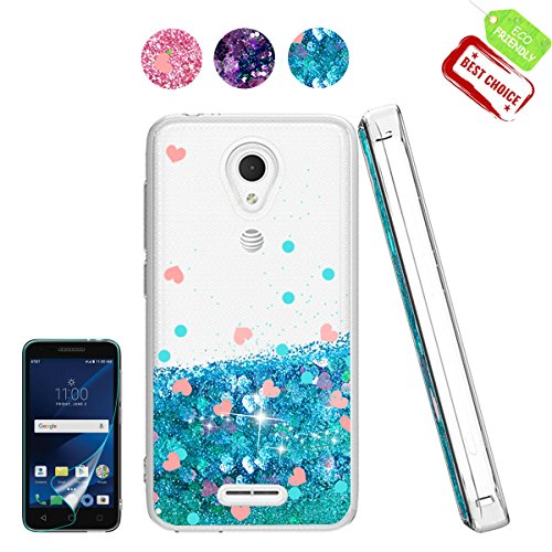Alcatel IdealXcite/Verso/CameoX/Xcite Version 5044r Case with HD Screen Protector for Girl Woman, Cute Glitter Series Quicksand Liquid Bling Soft Case for Alcatel 5044R Blue