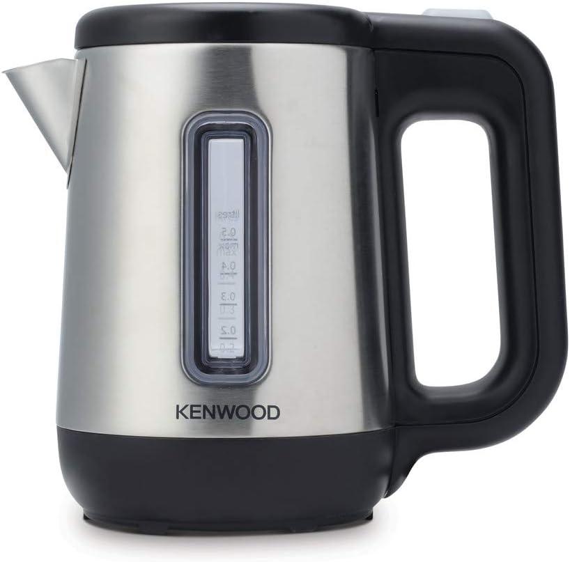 Kenwood JKM076 - Hervidor de agua eléctrico para viaje, 670 - 800 W, 0.5 L de capacidad, apagado auomático, tapa de seguridad, negro/plata