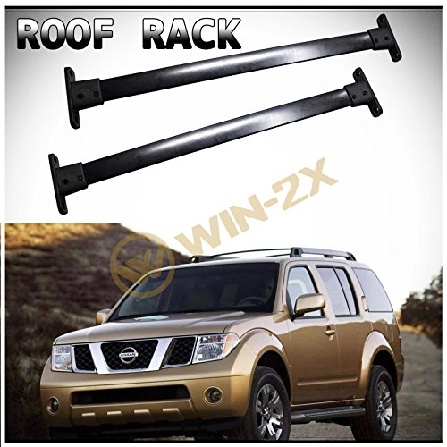 (WIN-2X 2pcs New Factory Style Black Aircraft Aluminum Roof Rack Cross Bars Cargo Carriers + Brackets + Mounting Hardwares Fit 05-12 Nissan Pathfinder)