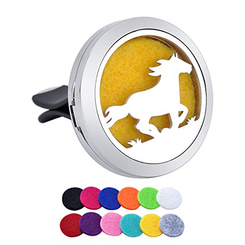 Tornado Running Horse Aromatherapy Car Air Freshener Stainless Steel Essential Oil Diffuser Locket Car Vent Clip 12 Refill Pads