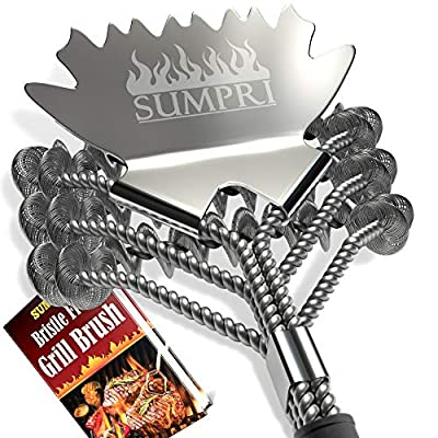 SUMPRI Grill Brush Bristle Free -Safe BBQ Grill Brush & Scraper -Barbecue Cleaner for Porcelain, Ceramic, Iron, Gas/Charcoal Grill -18 Inch Stainless Steel, Bq Grilling Accessories Grate Cleaner