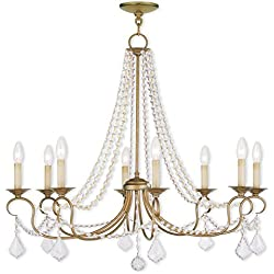 Saint Mossi Vintage Gold Crystal Chandelier Lighting Flush Mount LED Ceiling Light Fixture Pendant Lamp for Dining Room Bathroom Bedroom Livingroom 8 E12 LED Bulbs Required Height 28 x Width 34