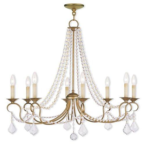 Saint Mossi Vintage Gold Crystal Chandelier Lighting Flush Mount LED Ceiling Light Fixture Pendant Lamp for Dining Room Bathroom Bedroom Livingroom 8 E12 LED Bulbs Required Height 28 x Width 34