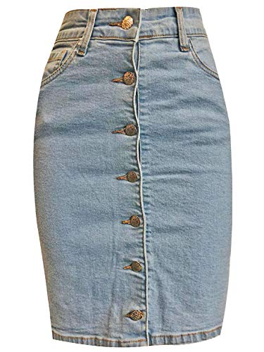 - My Choice Stuff Womens Frayed Hem Mini Denim Skirt Ladies Denim Button Up Short Pencil Skirt 7 Button Up Denim Skirt US 8