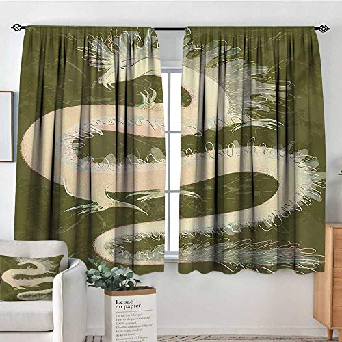 - Theresa Dewey Blackout Curtains Dragon,Chinese Reptile Dragon Eastern Culture Medieval Mythology Asian Symbols Pattern,Green Yellow,Rod Pocket Curtain Panels for Bedroom & Kitchen 55