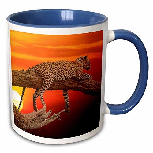 3dRose Sven Herkenrath Animal - Wildlife Cheetah Animal with Sunset in the Background - 11oz Two-Tone Blue Mug (mug_264611_6)