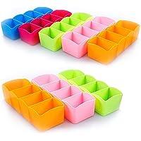 TNT 8 Piece Multipurpose Stackable Wardrobe Organizer Rack, Socks Undergarments Organizer, Multicolour (Set of 8)