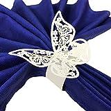 Wrapables - Juego de 50 servilletas Decorativas para Boda con diseño de Mariposas, Color Blanco