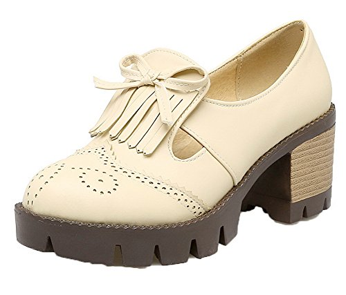 Toe Solid Odomolor Kitten PU Women's Round On Shoes Pumps Pull Apricot Heels wIqxf8IZp