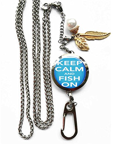 RhyNSky Fishing Keep Calm And Fish On Aromatherapy Essential Oil Diffuser Locket Pendant ID Badge Holder Lanyard Necklace Bracelet Keychain with Chain and Pads, C56 - Aroma Calm Perfume