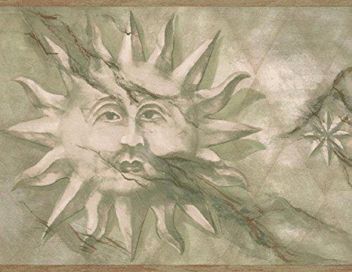Kids Olive Wallpaper - Vintage Cracked Face on the Sun Olive Green Wallpaper Border Retro Design, Roll 15' x 7''